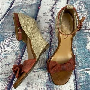 FERGIE Burnt Red Wedge Sandals
